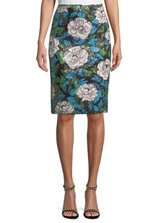 Diane Von Furstenberg Sequin Floral Pencil Skirt