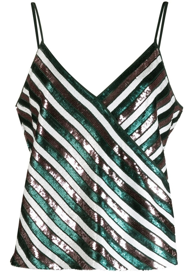 Diane Von Furstenberg sequin striped tank top