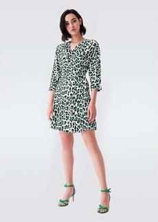 Diane Von Furstenberg Sheena Crepe Wrap Dress in March Leopard White