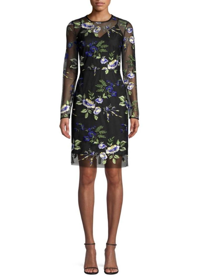 Diane Von Furstenberg Sheer Floral Sheath Dress