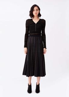 Diane Von Furstenberg Sherry Pleated Knit Midi Skirt in Black