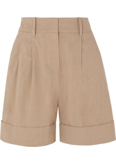 Diane Von Furstenberg Shiana Pleated Linen-blend Shorts