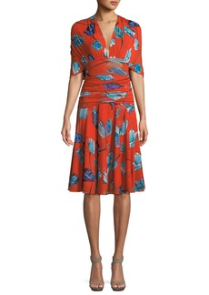 Diane Von Furstenberg Shirred Floral-Print V-Neck Dress