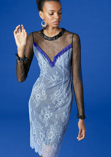 Diane Von Furstenberg Short Beaded Overlay Lace Dress