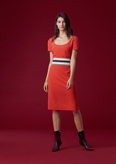 Short-Sleeve Belted Tailored Dress