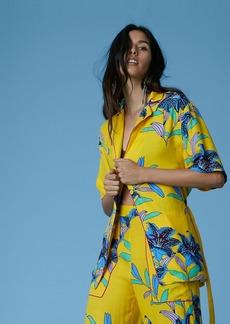 Diane Von Furstenberg Short-Sleeve Cinched Waist Top