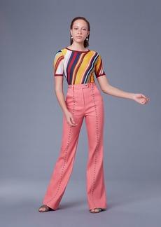 Diane Von Furstenberg Short-Sleeve Crew Neck Striped Sweater