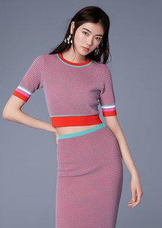 Diane Von Furstenberg Short-Sleeve Cropped Crew Neck Sweater