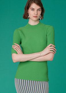 Diane Von Furstenberg Short-Sleeve Fine Gauge Mock Neck Top