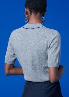 Short-Sleeve Mock Neck Cashmere Knit Pull Over
