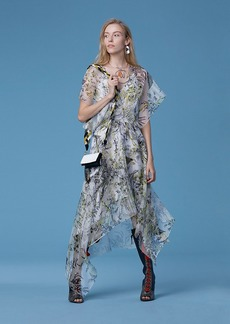 Short-Sleeve Overlay Square Hem Dress