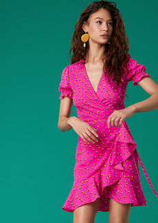 Diane Von Furstenberg Short Sleeve Ruffle Wrap Dress