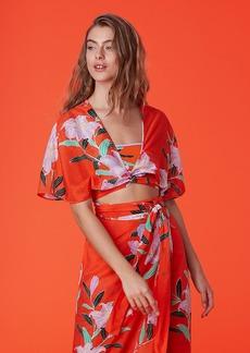 Diane Von Furstenberg Short-Sleeve Tie Front Top