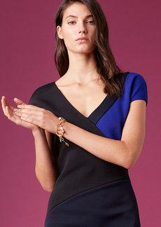 Diane Von Furstenberg Short-Sleeve V-Neck Banded Dress