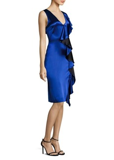 Diane Von Furstenberg Side Ruffle Velvet Dress