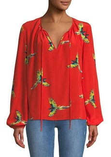 Diane Von Furstenberg Silk Bird-Print Long-Sleeve Blouse