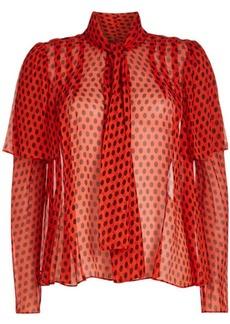 Diane Von Furstenberg Silk Chiffon Printed Blouse