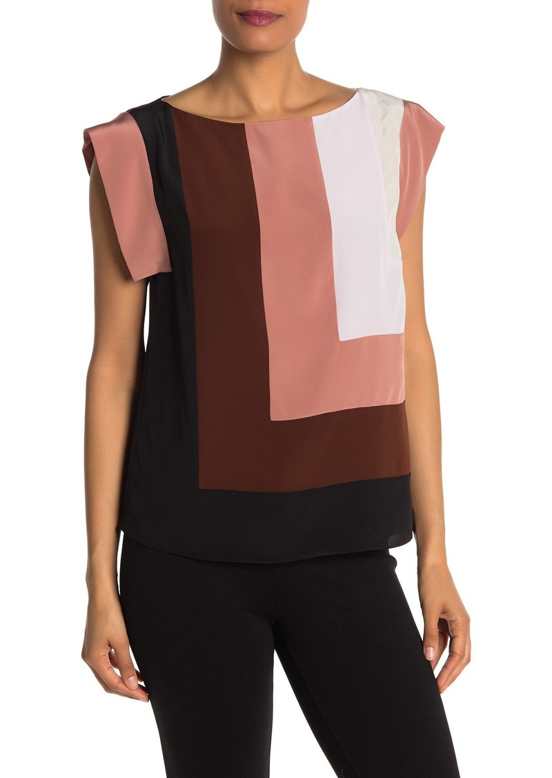 Diane Von Furstenberg Silk Colorblock Top