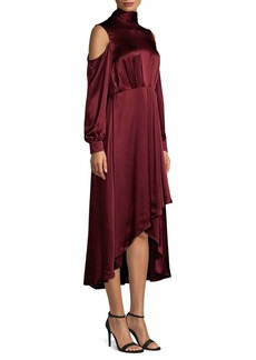 Diane Von Furstenberg Silk High-Low Mockneck Midi Dress