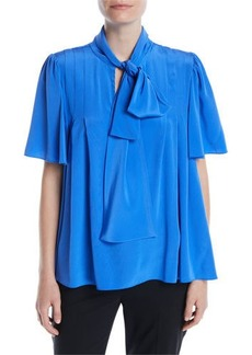 Diane Von Furstenberg Silk Neck-Tie Short-Sleeve Blouse