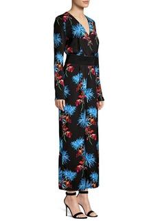 Diane Von Furstenberg Silky Crossover Floral Jumpsuit