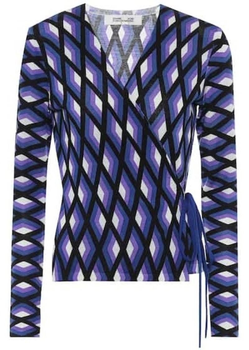 Diane Von Furstenberg Silver printed wool wrap sweater