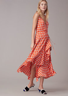 Diane Von Furstenberg Sleeveless Asymmetric Ruffle Wrap Dress