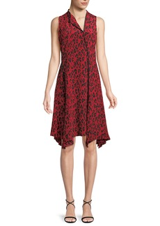 Diane Von Furstenberg Sleeveless Bias-Cut Leopard-Print Silk Dress