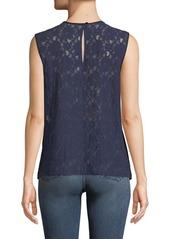 Diane Von Furstenberg Sleeveless Crewneck Lace-Back Shell