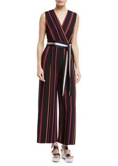 Diane Von Furstenberg Sleeveless Crossover Wide-Leg Striped Jumpsuit