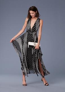 Diane Von Furstenberg Sleeveless Draped V-neck Maxi Dress
