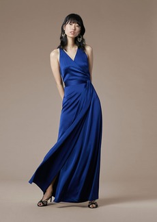 Diane Von Furstenberg Sleeveless Floor-Length Satin Wrap Dress