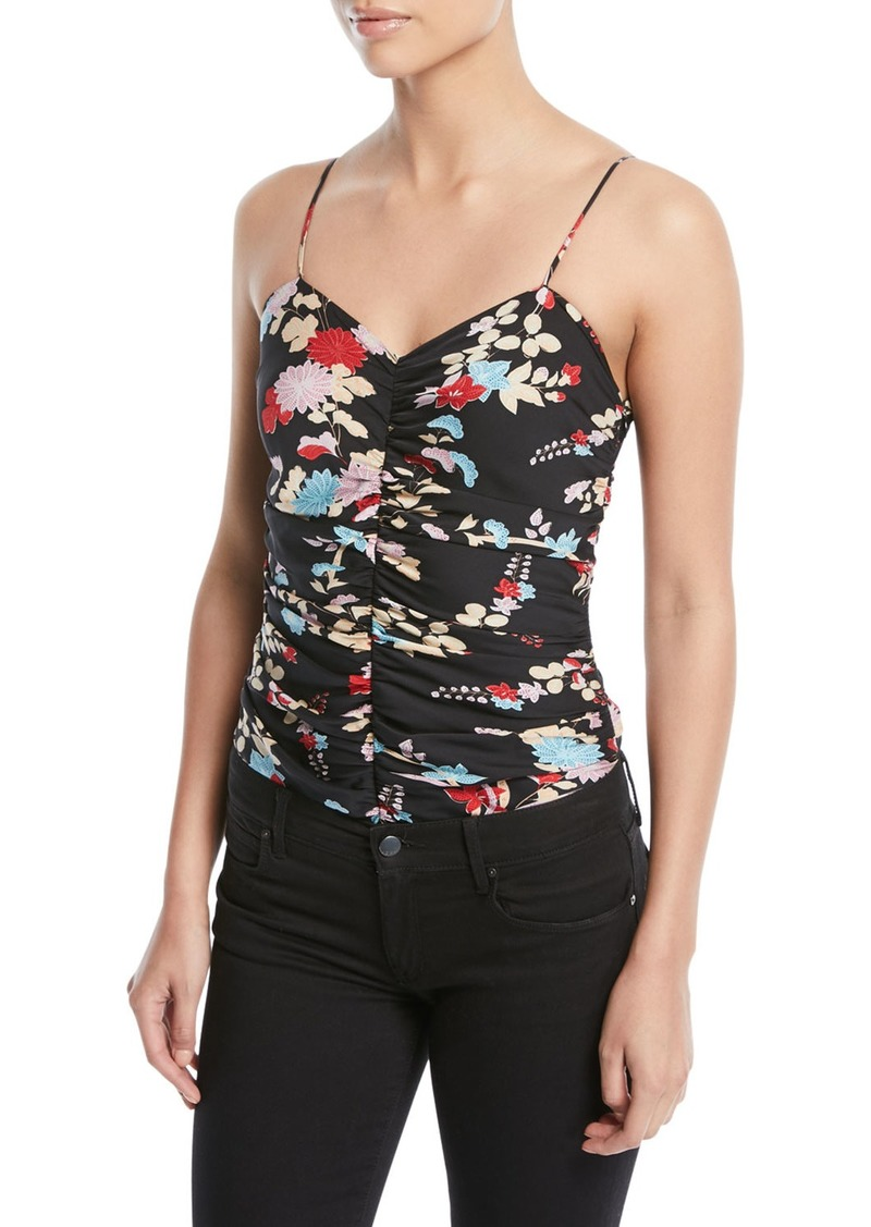 Diane Von Furstenberg Sleeveless Floral Ruched Bodysuit
