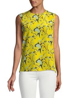 Diane Von Furstenberg Sleeveless Floral Silk Blouse