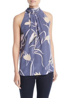Diane Von Furstenberg Sleeveless High-Neck Floral-Print Blouse