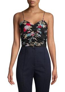 Diane Von Furstenberg Sleeveless Ruched Floral Bodysuit