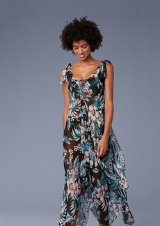Diane Von Furstenberg Sleeveless Ruffle Chiffon Maxi Dress
