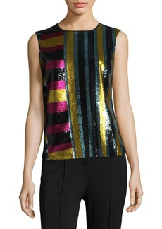 Diane Von Furstenberg Sleeveless Sequined Shell
