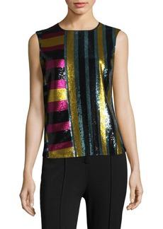 Diane Von Furstenberg Sleeveless Shell Colorblock Top