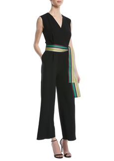 Diane Von Furstenberg Sleeveless Straight-Leg Belted Jumpsuit