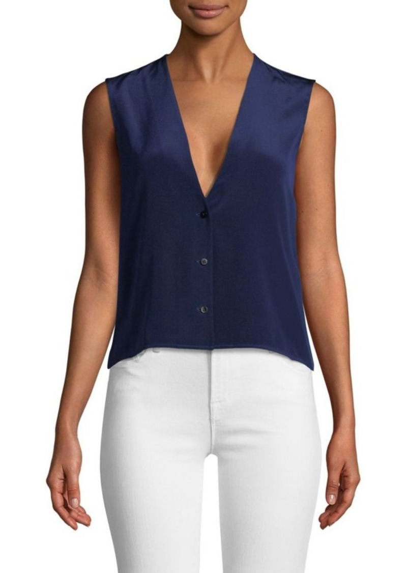 Diane Von Furstenberg Sleeveless V-Neck Silk Top