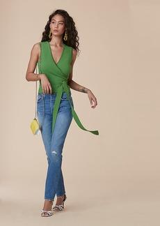 Diane Von Furstenberg Sleeveless Wrap Cardigan