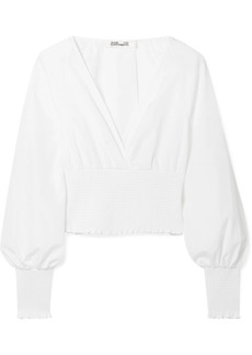 Diane Von Furstenberg Smocked Open-back Cotton-poplin Blouse
