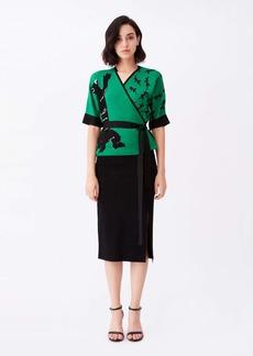 Diane Von Furstenberg Sophia Knit Wrap Top in Green