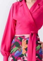 Diane Von Furstenberg Stephanie Silk Crepe De Chine Collared Wrap Top in Empress