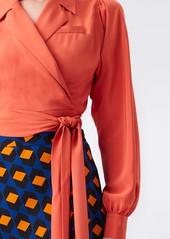Diane Von Furstenberg Stephanie Silk Crepe De Chine Collared Wrap Top in Orange Rust