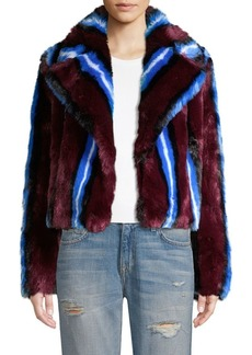 Diane Von Furstenberg Stripe Faux Fur Chubby Coat