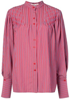 Diane Von Furstenberg striped band collar shirt