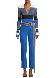 Diane Von Furstenberg Striped Cropped Wrap Sweater