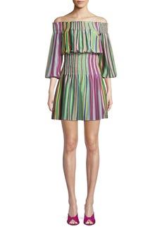 Diane Von Furstenberg Striped Off-the-Shoulder Mini Coverup Dress